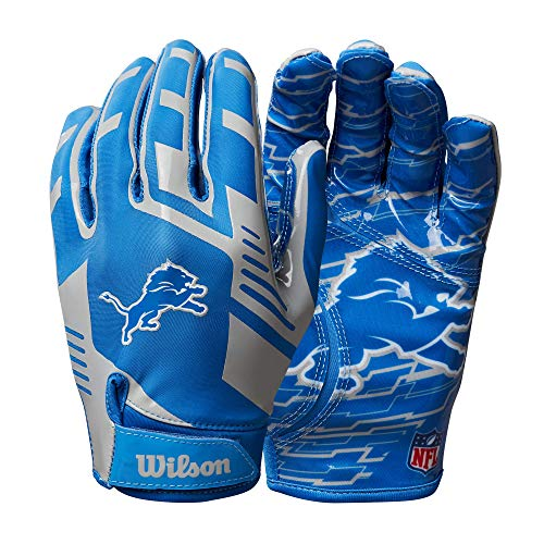 Wilson NFL Stretch Fit Football Gloves - Detroit- Adult