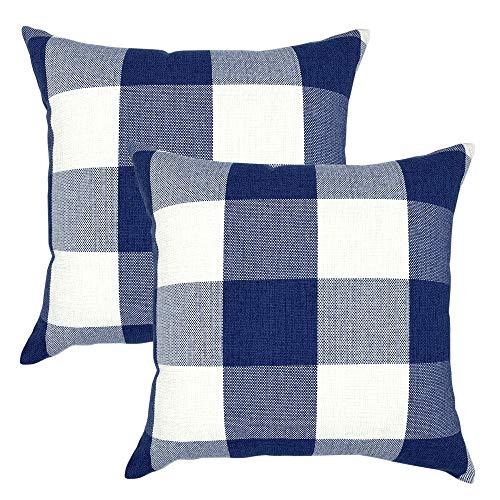 YOUR SMILE Retro Farmhouse Buffalo Tartan Chequer Plaid Cotton Linen Decorative Throw Pillow Case Cushion Cover Pillowcase for Sofa Bed,Set of 2 (Navy, 18''x18'')