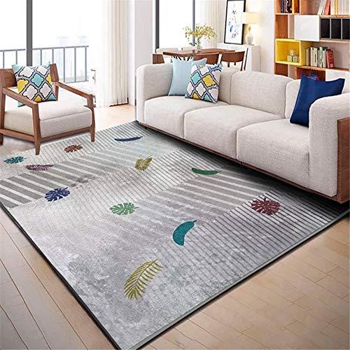 RUGMRZ Rug Carpet Carpet gray fresh small leaf pattern anti-dirty carpet durable Patio Rugs Waterproof Kids Bedroom Rug grey 180X200CM