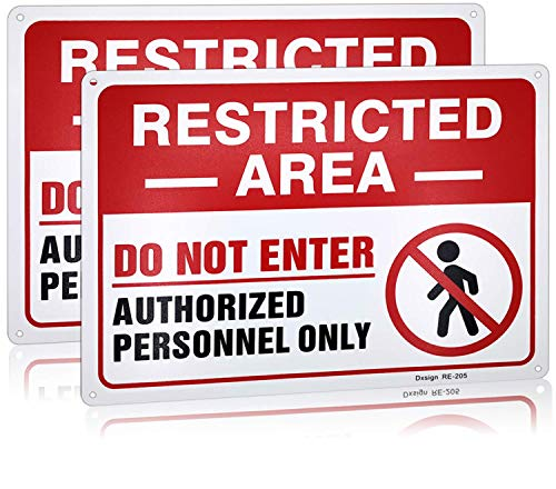 Warning Restricted Area Authorized Personnel Only Sign Do Not Enter Signs Metal,10x14 Inch Rust Free Aluminum, UV Ink Printing,Indoor or Outdoor Use for Bedroom Door(2-Pack)
