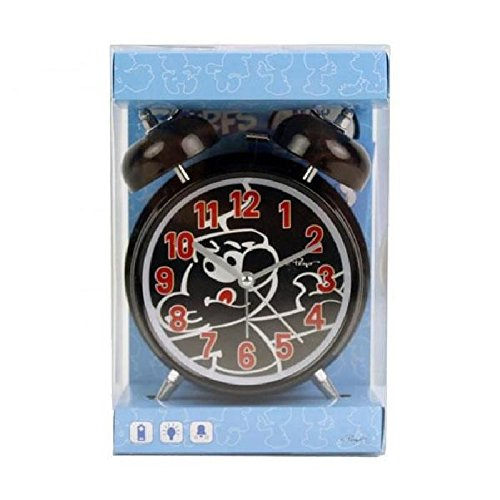 Die Schlümpfe Wecker Alarm Uhr Schwarz 10cm