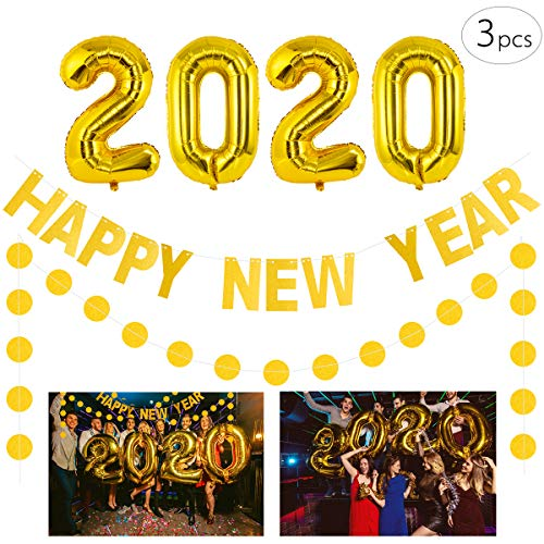 "Cosweet 2020 Gold Foil Number Party Balloons+""HAPPY NEW YEAR"" Banner+ 13ft Gold Glitter Round Hanging Decoration for New Years Eve Party Supplies 2020 Ceremony Graduation Decorations Indoor Outdoor"