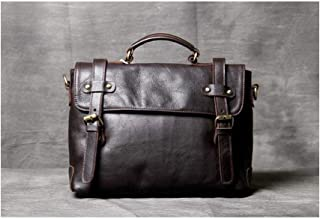 Mens Bag First Layer Leather Briefcase Men's and Women's Leather Shoulder Slung Handbag High capacity