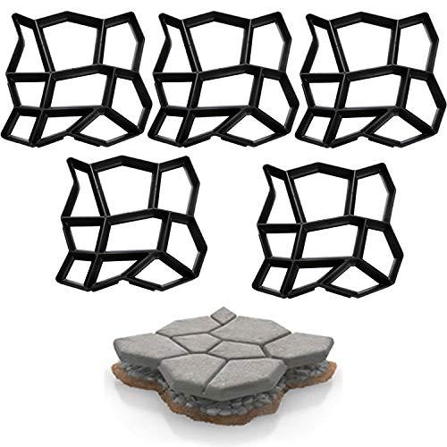 BMOT 5X Pflasterform Beton Pflasterschablone Trittplatten Gießformen Schwarz Kunststoff Gehwegplatten Außenbereich Garten Terrasse Pflastersteine 43x43x4cm