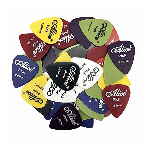 50 púas de guitarra Alice, mediador eléctrico acústico para guitarra Violao, accesorios de espesor, 0,58, 0,71, 0,81, 0,96, 1,20, 1,50 mm (color: 0,81 mm)