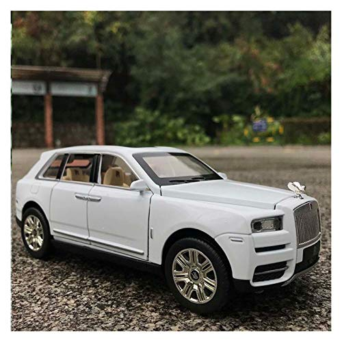 Car Model Scale 1:24 / Compatible with Rolls Royce Cullinan/Sound Light Pull Back Function Metal Car Paint High-Definition Interior Vehicle Model (Color : White)
