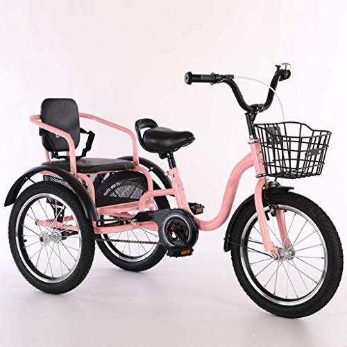 KELITINAus Bicicletas de Tres Ruedas para Niños Niñas, Triciclo 16 18 Pulgadas 3 Ruedas Bicicletas de Crucero Bicicletas Cómodas Dos Plazas, Diseño de Asa Conveniente, Triciclos para Niños de 2 a 12