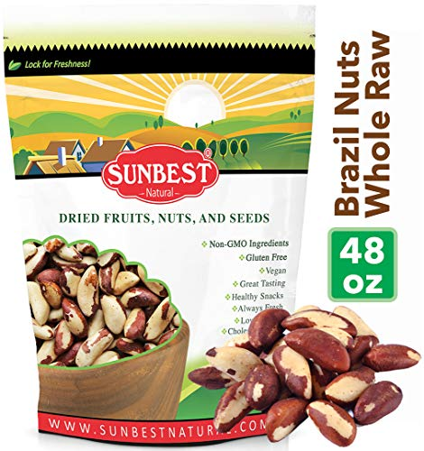 SUNBEST Whole, Raw, Shelled Brazil Nuts in Resealable Bag … (3 Lb)