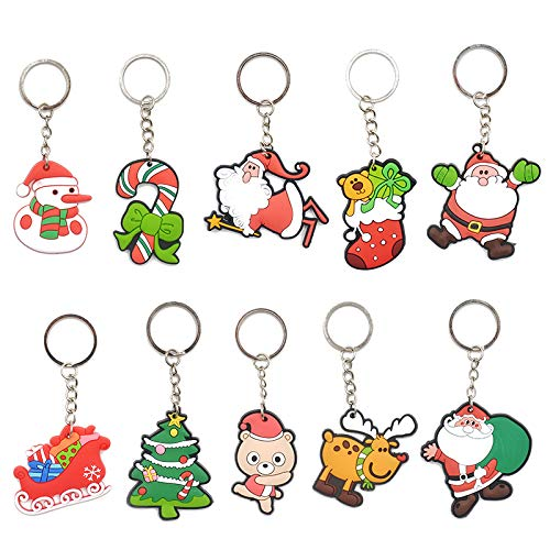 10pcs Christmas Xmas Tree Ornament Decoration Decor Key Chains Christmas Santa Claus Keychain Gift