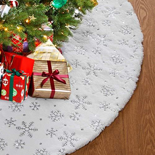 HusDow 120cm Weihnachtsbaumdecke Weiß Plüsch Christmasbaumdecke Rund Tannenbaum-Unterlage Weihnachtsbaumteppich Ornamente Dekoration für Weihnachten