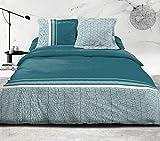 Home Linge Passion | Funda de edredón de 3 Piezas | 100% algodón – 57 Hilos | 2 Personas – 220 x 240 cm | Tilt SAPIN Celadon