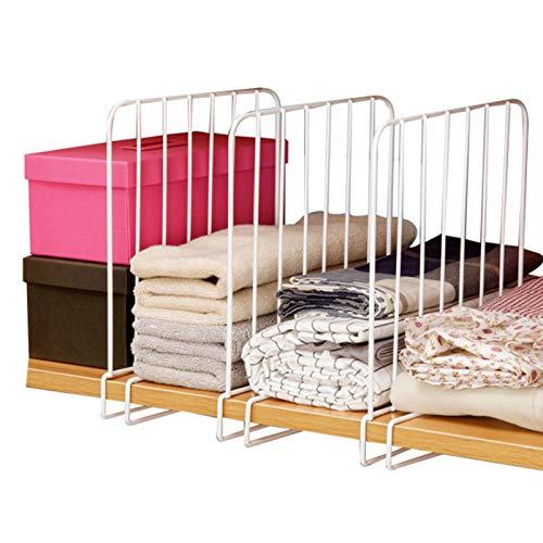 MOVKZACV 3er Set Regaltrenner für den Kleiderschrank, Regalsystem ohne Bohren, Kleiderschranksystem aus Metall, Verstellbar Trennwand Regalteiler für Badezimmer Küche Bücherregal