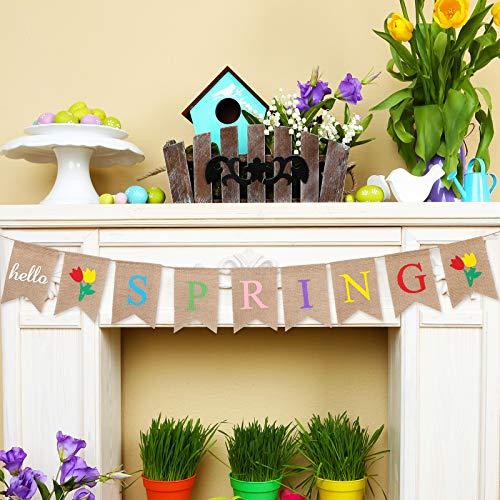 Hello Spring Banner Sackleinen Dekoration Hello Spring Hängende Banner Garland Frühling Haus Mantel Kamin Party Hängende Dekoration für Tür Mantel Kamin Party Hängen Zubehör