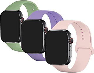 Pack 3 Compatible with Apple Watch Band 38mm 40mm 42mm 44mm,Soft Silicone Replacement Band for Apple iWatch Series SE 6 5 ...