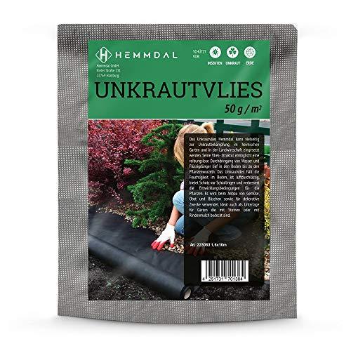 HEMMDAL Unkrautvlies, schwarz – 1,60 x 10 m – Bodengewebe mit 50 g/m² Stärke – wirkungsvolle Unkrautsperre – ideal gegen Unkraut in Beet & Garten – Made in Europe