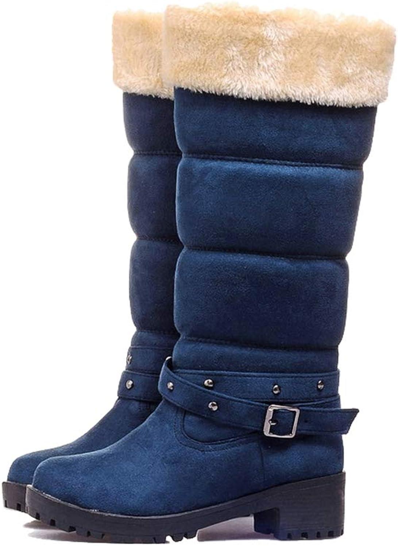Women Casual Boots, Female Warm Fur Square Heel Snow Boots, Soft Comfortable Non-Slip Fashion Botas