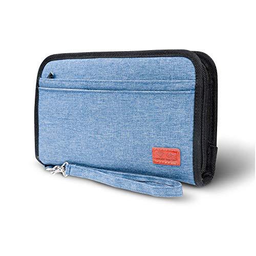 JamBer Reisepass Tasche Reise Organizer RFID-Blocker Etui für Familie Reisedokumente Passport Hülle Reisebrieftasche Tickettasche Reiseorganizer für Damen und Herren (Blau)