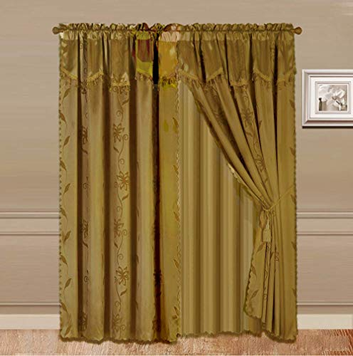 2 Panel Window Curtain Set With Valance and Sheer