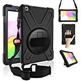 ZenRich Galaxy Tab A 8.0 Case (2019),360 Degree Rotatable Kickstand,Hand Strap and Shoulder Strap, zenrich Hybrid Heavy Duty Shockproof Case for Samsung Galaxy Tab A 8.0 SM-T290/T295/T297 (Black)