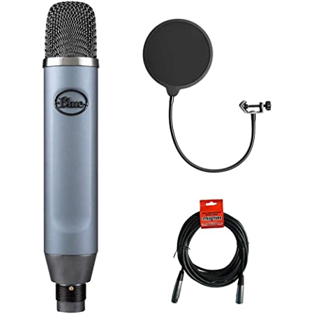 Blue Ember Small Diaphragm Studio Condenser Microphone with Kellopy Pop Filter & XLR-XLR Cable Bundle