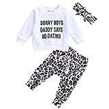 Geagodelia Ensemble 3 pièces pour bébé fille Tenue T-shirt Top/Body + pantalon/short bébé nouveau-né 0-4 ans - Blanc - 12 mois