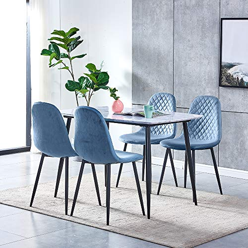 Huisen Furniture Marble-like Dining Table and Blue Velvet Chairs Set of 4, 5 Pieces Wood Kitchen Table with 4 Occasional Chairs Black Metal Legs for Small Dinette Apartment Space Saving