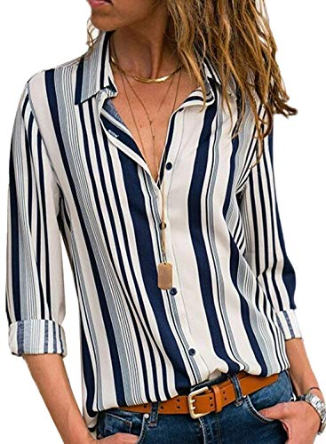 Donna Casuale Solido Manica Lunga Camicetta Camicia Bavero Elegante Bluse C Bianco IT 38