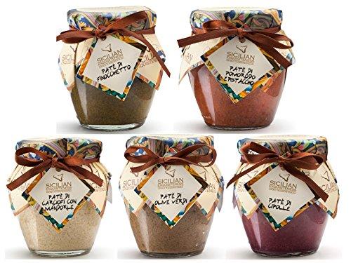 Paté 5er Pack 5 x 90g | Sorten wie Grüne Oliven, Schwarze Oliven, Artichoken mit Pistazie, Artischoken mit Mandeln, Knoblauch, Zwiebeln, Chili, Tomate mit Nüssen,