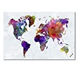 Wieco Art Colorful Vintage World Map Canvas Prints Wall Art Old Pictures Paintings for Living Room Bedroom Home Decorations Large Modern Stretched and Framed Grace Abstract Landscape Giclee Artwork