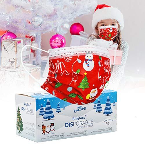 Christmas masks for kids Disposable red christmas masks for children Disposable Christmas Mask Disposable for boys girls with Elastic Earloops Wire Christmas Disposable Masks Holiday
