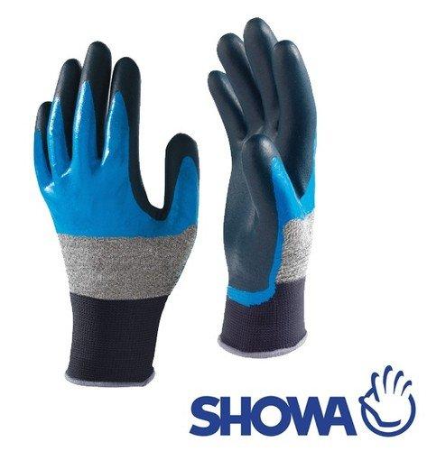 Showa 376, Lot de 10 paires de Grip en mousse nitrile Wet & Peaux Grasses 3/4 avec revêtement – Taille M