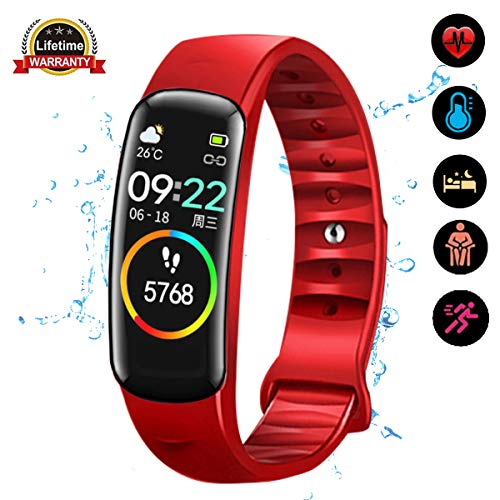 weijie Fitness Tracker, Activity Tracker Watch with Heart Rate Monitor Waterproof Smart Fitness Band with Step Calorie Counter Sleep Monitor Pedometer Watch for Kids Women Men for Android iPhone (Red)