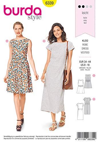 Burda Schnittmuster 6339, Kleid [Damen, Gr. 34-44] zum selber nähen, ideal für Anfänger [L2]