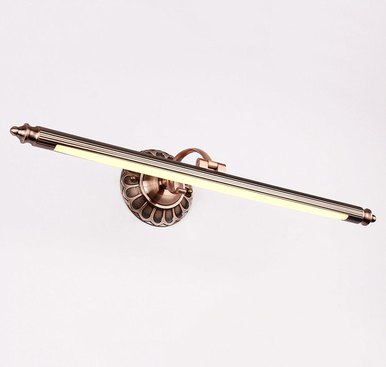 Retro Spiegel Spiegel Europischen amerikanischen Stil LED-Badezimmerschrank Kommode rostfrei Wasserdicht A Nachweis von Feuchtigkeit Hardware Wandlampe (rot bronze) 50cm