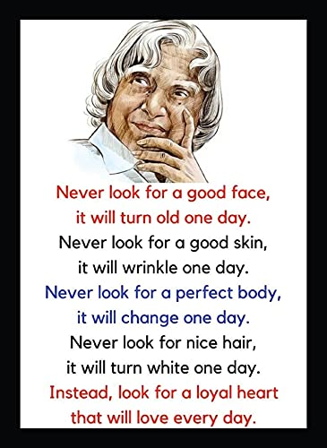 BIRD'S MIND Synthetic Wood Wall Hanging Never Look for Good Face Apj Abdul Kalam Photo Frames for Office School College Home Decor Wall Frames L x H 9.5 Inches x 13 Inches