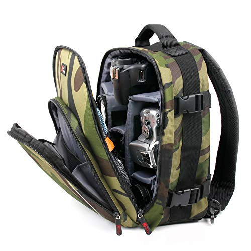 DURAGADGET Water-Resistant Camouflage Backpack with Customizable Interior & Rain Cover - Compatible with BUIEJDOG Ultra Full HD WiFi Action Camera 170 °