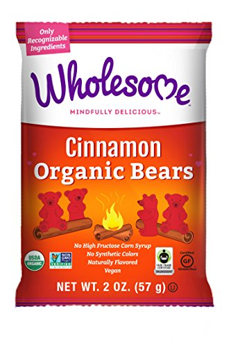 Wholesome Fair Trade Organic Cinnamon Bears, No Artificial Colors or High Fructose Corn Syrup, Non GMO & Gluten Free, Vegan, 2 Ounce (Pack of 12)