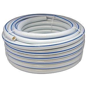 Aqua Control 51925 – Rollo de 25 metros de manguera trenzada de jardín de 19 mm de diámetro. Color blanco con listado azul.
