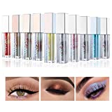 Glitter Liquid Eyeshadow, COOSA 10 Colors Shimmer Colorful Glitter Eyeliners Metallic Sparkling High Pigmented Silver Gold Eye Shadow