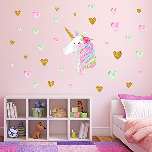 Unicorn Wall Decals,Unicorn Wall Sticker Decor with Heart Flower Birthday Christmas Gifts for Boys Girls Kids Bedroom Decor Nursery Room Home Decor (A-Unicorn)