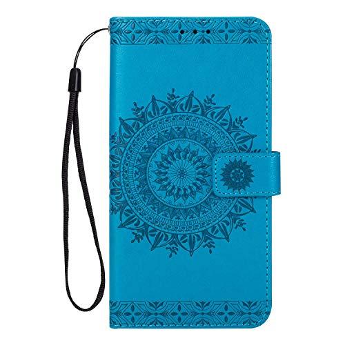 Huawei P10 Hülle, SONWO Premium Prägung Mandala PU Lederhülle Flip Brieftasche Hülle Cover Schale Ständer Etui Wallet Tasche Case Schutzhülle für Huawei P10, Blau