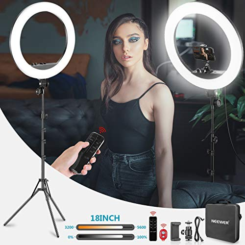 Neewer 18-inch LED Ring Light with Stand and 2.4G Wireless Remote, 55W 3200K-5500K Makeup Ringlight with Soft Tube/Phone Holder/Ball Head for Vlogging Selfi...