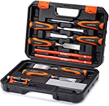 REXBETI 10pc Premium Wood Chisel Set, 6pcs Wood Chisel with 1 Honing Guide, 1 Sharpening Stone and 2 Carpenter Pencils, Heat-Treated Cr-V Alloy Blades