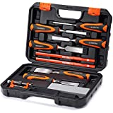 REXBETI 10pc Premium Wood Chisel Set, 6pcs Wood Chisel with 1 Honing Guide, 1 Sharpening Stone and 2...