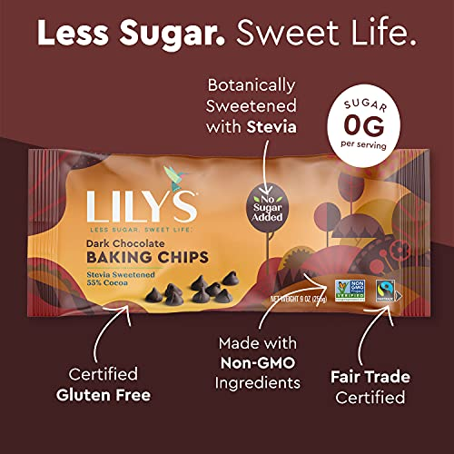 Premium Dark Chocolate Baking Chips by Lily's Sweets  Stevia Sweetened, No Added Sugar, Low-Carb, Keto Friendly   55% Cacao   Fair Trade, Vegan, Gluten-Free & Non-GMO   9 oz, 3 Pack