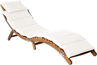 vidaXL Lite drewno akacjowe, leżak do opalania z poduszką, składany, leżak ogrodowy, leżak ogrodowy, leżak plażowy, kremowy