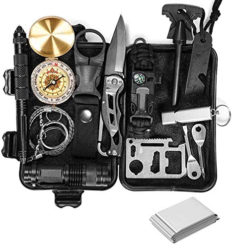 KAIWENDE Emergency Survival Kit 12 in 1 Camping Survival Gear and Equipment Containing Military product image