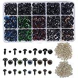 AvoDovA 264PCS Ojos Seguridad de Plástico, Incluyendo94PCS Negro Ojos de Seguridad (6-12mm), 170PCS ColoridosOjos de Seguridad(10-12mm), Ojo de Plástico con 264PCS Arandelas para Hacer Muñecas