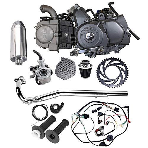 TDPRO Full Set of Lifan 125cc Engine Semi-Auto 4 Stroke Motor with Wiring Harness Carburetor Chain Sprocket Exhaust Muffler Pipe for Trail Bike CT70 90 110 125 Dirt Bike Trike
