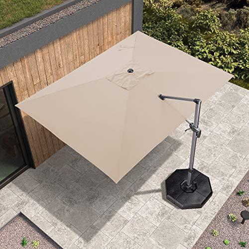 PURPLE LEAF 270 x 350 cm Luxus Rechteck Sonnenschirm Gartenschirm Kurbelschirm Ampelschirm Terrassenschirm, Beige